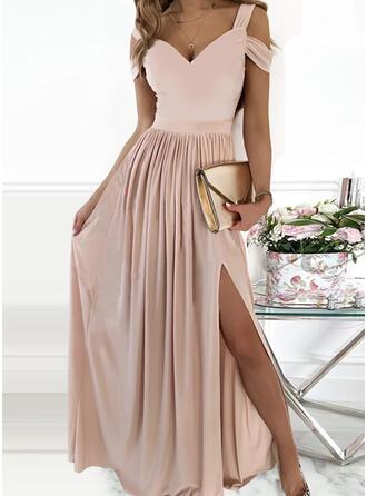 Solid Short Sleeves Cold Shoulder Sleeve A-line Skater Party/Elegant Maxi Dresses
