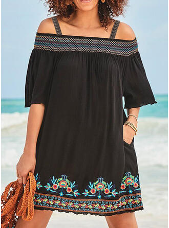 Plus Size Floral Print 1/2 Sleeves Shift Above Knee Casual Vacation Dress