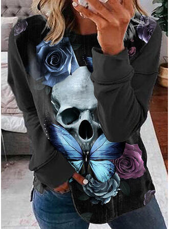 Floral Print Skull head Butterfly Round Neck Long Sleeves T-shirts