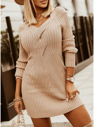 Solid Square Collar Casual Sweater Dress