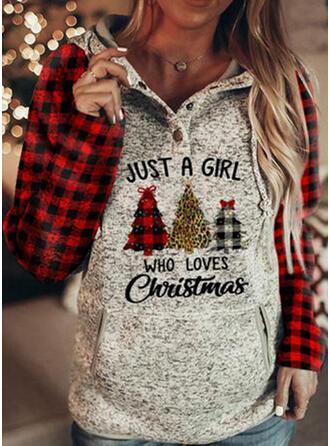 Print Grid Leopard Figure Long Sleeves Christmas Sweatshirt