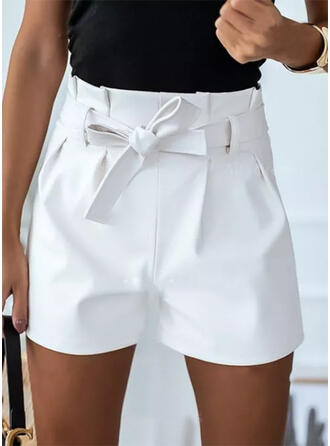 Solid Above Knee Casual Plus Size Lace Up Shirred Pants Shorts