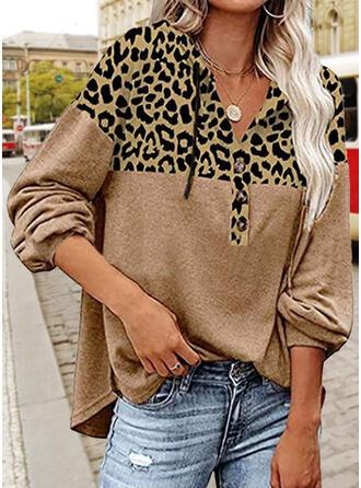 Leopard V-Neck Long Sleeves Sweatshirt