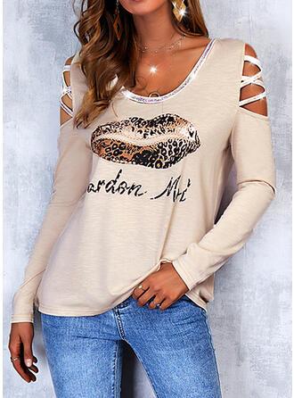 Print Leopard Letter Sequins Cold Shoulder Long Sleeves Cold Shoulder Sleeve Casual Blouses