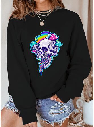 Halloween Print Skull head Round Neck Long Sleeves Sweatshirt