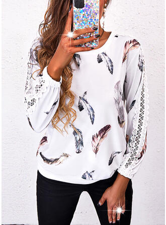 Feather Lace Round Neck Long Sleeves Sweatshirt