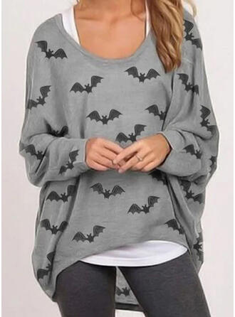 Halloween Animal Print Round Neck Long Sleeves Casual Blouses