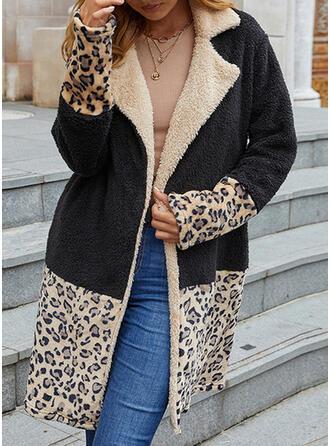 Long Sleeves Color Block Leopard Cardigans