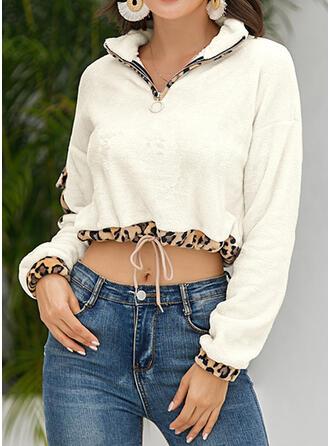 Leopard Lapel Long Sleeves Sweatshirt