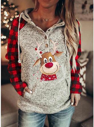 Animal Print Grid Pockets Long Sleeves Christmas Sweatshirt