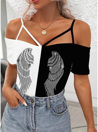 Print Color Block Cold Shoulder Short Sleeves Cold Shoulder Sleeve Casual Blouses