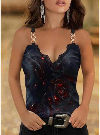 Floral Print Lace Spaghetti Straps Sleeveless Tank Tops