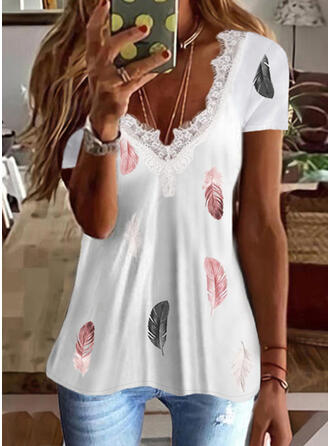 Print Feather Lace V-Neck Short Sleeves T-shirts