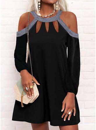 Solid Sequins Long Sleeves Cold Shoulder Sleeve Shift Above Knee Little Black/Party/Elegant Dresses