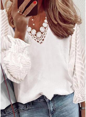 Solid Chiffon Lace V-Neck Long Sleeves Puff Sleeve Elegant Blouses
