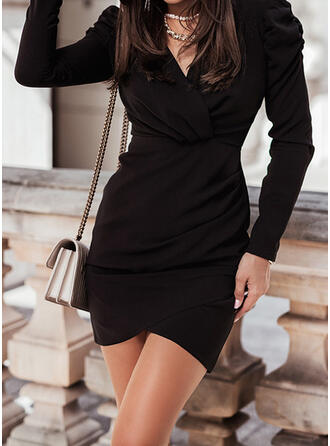 Solid Long Sleeves Sheath Above Knee Little Black/Casual Dresses