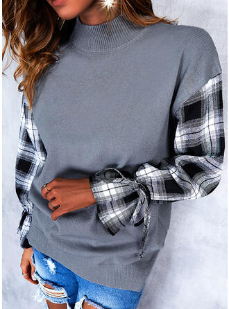 Plaid Round Neck Casual Sweaters