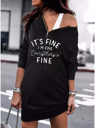 Print/Letter Long Sleeves Dropped Shoulder Shift Above Knee Casual Tunic Dresses