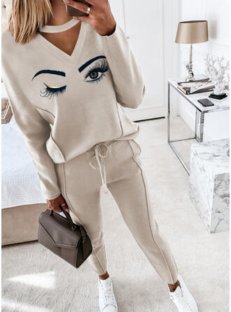 Eye Print Casual Drawstring Pants Two-Piece Outfits