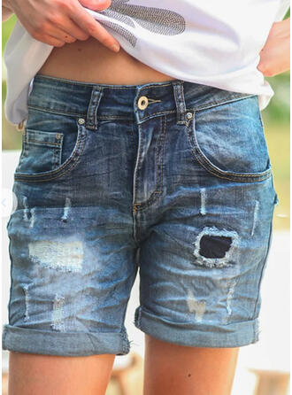 Above Knee Casual Vintage Plus Size Pocket Shirred Ripped Button Pants Denim & Jeans