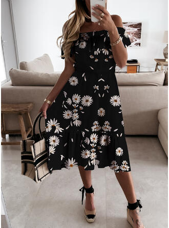 Print/Floral Short Sleeves Ruffle Sleeve A-line Vacation Midi Dresses