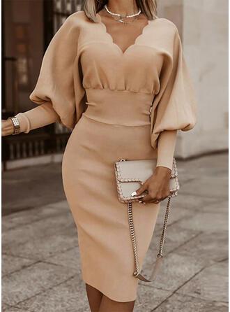 Solid Knit Long Sleeves Lantern Sleeve Bodycon Knee Length Elegant Pencil Dresses