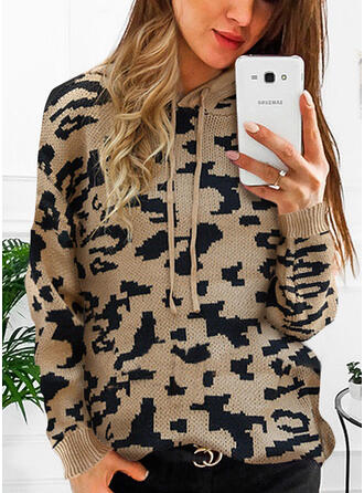Print Leopard Hooded Casual Sweaters