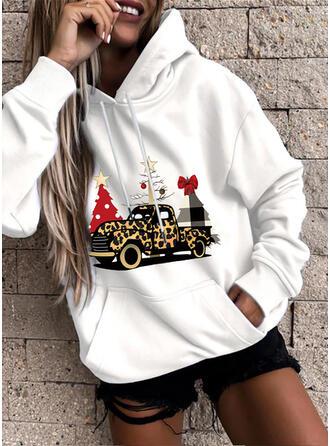 Print Leopard Pockets Long Sleeves Christmas Sweatshirt