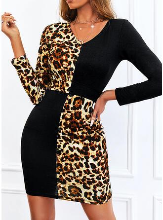 Print/Color Block/Leopard Long Sleeves Sheath Above Knee Casual Dresses