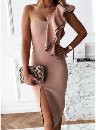 Solid Short Sleeves Ruffle Sleeve Sheath Knee Length Casual Dresses