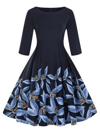 Print 1/2 Sleeves A-line Knee Length Vintage/Party/Elegant Dresses