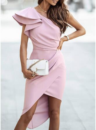 Solid Short Sleeves Ruffle Sleeve Bodycon Party/Elegant Midi Dresses