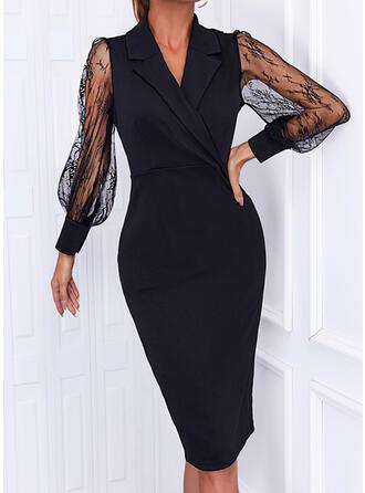 Solid Lace Long Sleeves Sheath Little Black/Elegant Midi Dresses