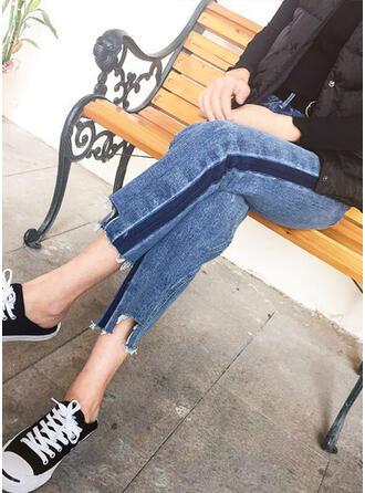 Color Block Denim Cropped Casual Denim & Jeans
