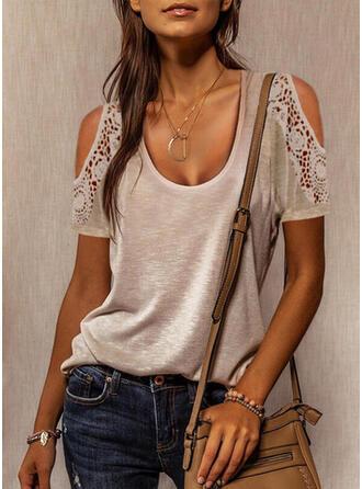 Solid Lace Cold Shoulder Short Sleeves Cold Shoulder Sleeve Casual Blouses