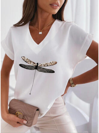 Print Animal Sequins V-Neck Short Sleeves T-shirts