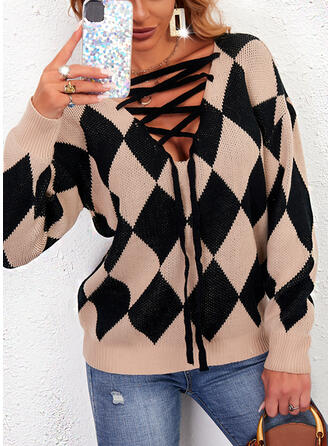 Print Geometric V-Neck Casual Sweaters