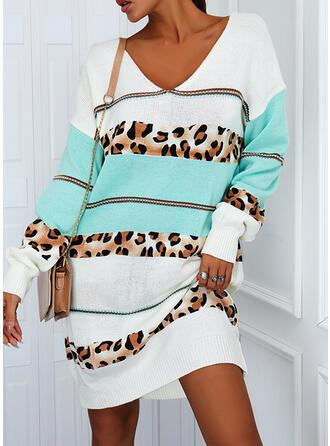 Color Block Leopard V-Neck Casual Sweater Dress