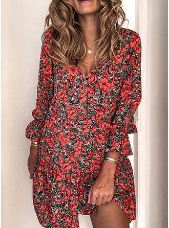 Print/Floral Long Sleeves Shift Above Knee Casual Shirt Dresses
