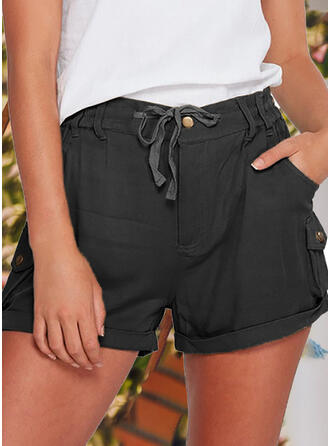 Solid Cotton Above Knee Casual Vintage Pocket Drawstring Button Pants Shorts