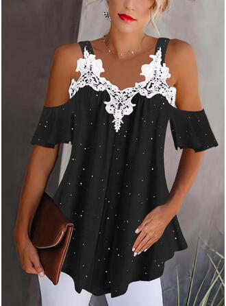 Print Lace Cold Shoulder 1/2 Sleeves Cold Shoulder Sleeve Elegant Blouses