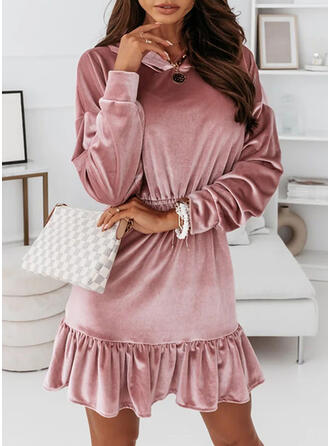 Solid Long Sleeves Shift Above Knee Casual Wrap Dresses