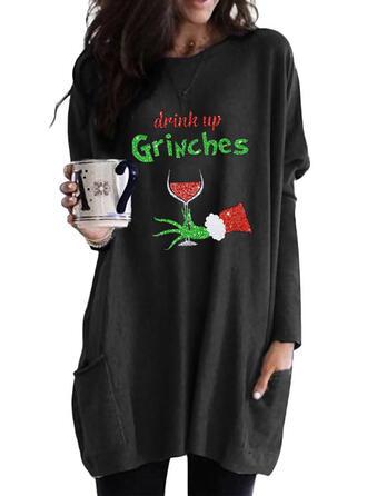 Print Figure Pockets Round Neck Long Sleeves Christmas Sweatshirt