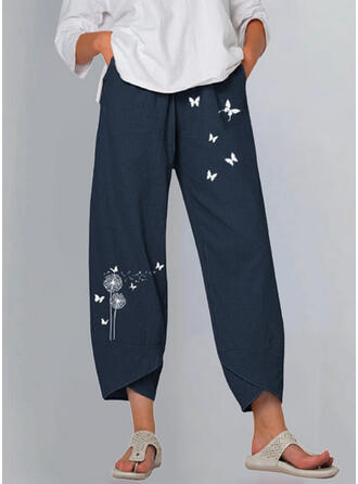 Print Dandelion Butterfly Linen Cotton Cropped Casual Vintage Plus Size Pants Lounge Pants