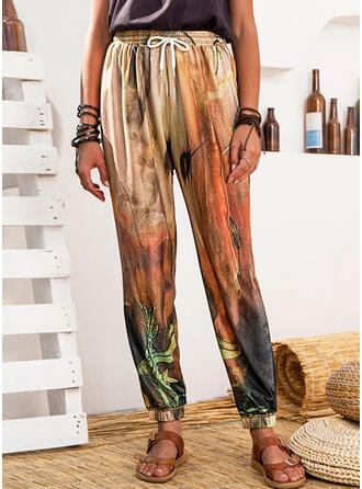 Print Long Casual Sporty Drawstring Pants