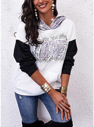 Print Color Block Letter Sequins Hooded Long Sleeves Sweatshirt