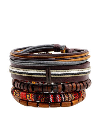 Unique Romantic Alloy Braided Rope Beads PU Women's Ladies' Unisex Girl's Bracelets Charm Bracelets Bolo Bracelets 5 PCS
