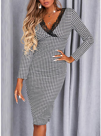Print/Plaid Lace Long Sleeves Sheath Knee Length Elegant Dresses