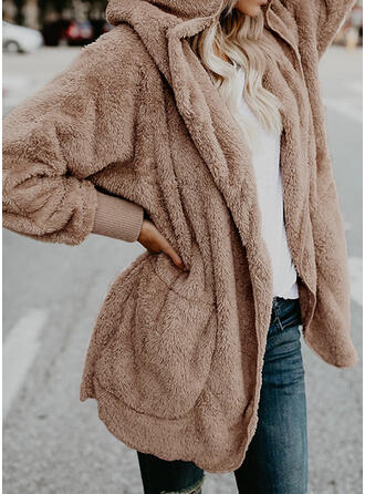 Long Sleeves Solid Cardigans