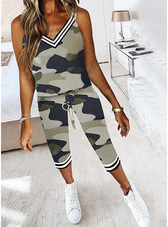 Striped Camouflage Casual Plus Size Drawstring Two-Piece Outfits